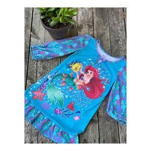 Disney Little Mermaid Nightgown Sz 2/3 Keyhole Balloon Sleeves Flounce Flounder
